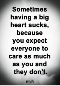 Life, Memes, and Heart: Sometimes  having a big  heart sucks,  because  you expect  everyone to  care as much  as you and  they don't.  Lessons Taught  By LIFE <3