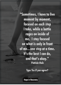 "Memes, Holes, and Focus: ""Sometimes, I have to live  moment by moment,  focused on each step  I take, while a battle  rages on inside of  me. I stay focused  on what is only in front  of me...one step at a time.  It's the best I can do,  and that's okay.""  Patricia Hole  Type Yes if you agree?  Hope in Recovery Sometimes, it is the best I can do."