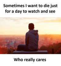 I Just Want To Die: Sometimes I want to die just  for a day to watch and see  Who really cares