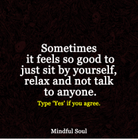 <3: Sometimes  it feels so good to  just sit by yourself  relax and not talk  to anyone.  Type 'Yes' if you agree.  Mindful Soul <3