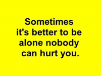 Alone Meme: Sometimes  it's better to be  alone nobody  can hurt you