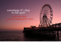 No Its Not Okay: sometimes it's okav  to fall apart  no it's not okay  you are a fucking ferris wheel