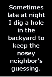 Nosey Neighbor: Sometimes  late at night  I dig a hole  in the  backyard to  keep the  nosey  neighbor's  guessing.