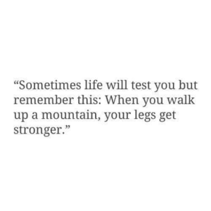"""test-you: """"Sometimes life will test you but  remember this: When you w  up a mountain, your legs get  stronger.""""  alk  05"""