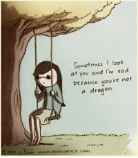 Im Sad: Sometimes  look  at you and I'm sad  because you're not  a dragon.  Zoll Li en rwrv.exocomics.com