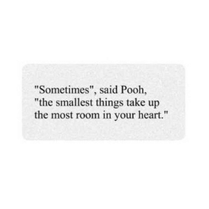 "https://iglovequotes.net/: ""Sometimes"", said Pooh,  ""the smallest things take up  the most room in your heart."" https://iglovequotes.net/"