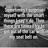 It's called balance.: Sometimes surprise  myself with the smart  things l say ado. Then  there are times ltry to  get out of the car with  my seat belt on. It's called balance.