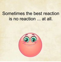 reaction: Sometimes the best reaction  is no reaction  at all