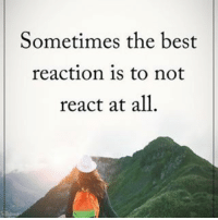 Sometimes the best reaction is to not react at all. powerofpositivity: Sometimes the best  reaction is to not  react at all Sometimes the best reaction is to not react at all. powerofpositivity