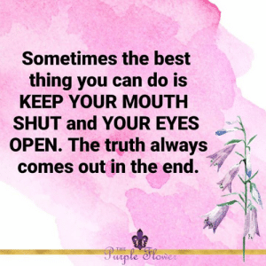 <3: Sometimes the best  thing you can do is  KEEP YOUR MOUTH  SHUT and YOUR EYES  OPEN. The truth always  comes out in the end.  Purple Slower  THE <3