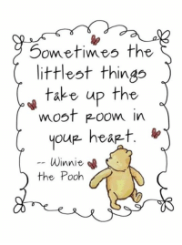 pooh: Sometimes the  littlest things  take up the  most Room in  you hea -t.  Winnie  the Pooh