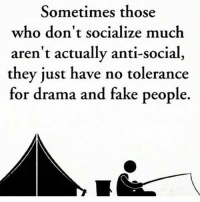 Facts, Fake, and Memes: Sometimes those  who don't socialize muclh  aren't actually anti-social,  they just have no tolerance  for drama and fake people Facts☝️