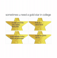 the last one is for me: sometimes u need a gold star in college  u only cried like  look at u  eatin food  once today.  hat's fab.  u put on pants  u got outside today  yay u.  hat's so awesome the last one is for me
