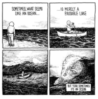 Memes, Yeah, and Ocean: SOMETIMES,WHAT SEEMS  IKE AN OCEAN  IS MERELY A  PASSABLE LAKE  BUT YEAH, SOMETIMES  ITS AN OCEAN (artist: @jakelikesonions) my friend gave me a cold and i'm so close to jumping their train about it ohmyGoD