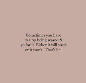 Life, Work, and Will: Sometimes you have  to stop being scared &  go for it. Either it will work  or it won't. That's life.