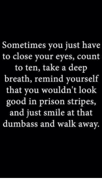 Takes A Deep Breath: Sometimes you just have  to close your eyes, count  to ten, take a deep  breath, remind yourself  that you wouldn't look  good in prison stripes,  and just smile at that  dumbass and walk away.