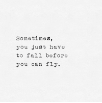 Fall, Can, and Fly: Sometimes,  you just have  to fall before  you can fly.