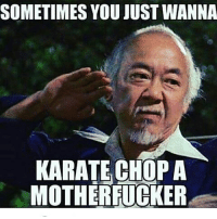 mother fucker: SOMETIMES YOU JUSTWANNA  KARATE CHOP A  MOTHERFUCKER