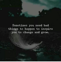 Bad, Change, and Grow: Sometimes you need bad  things to happen to inspire  you to change and grow.