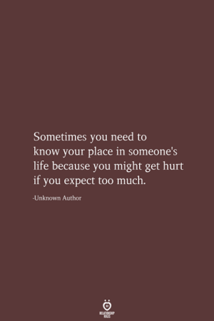 Your Place: Sometimes you need to  know your place in someone's  life because you might get hurt  if you expect too much.  Unknown Author  RELATIONSHIP  LES