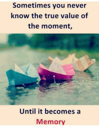 Memes, True, and True Value: Sometimes you never  know the true value of  the moment,  Until it becomes a  Memory
