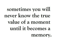 you will never know: sometimes you will  never know the true  value of a moment  until it becomes a  memorv.