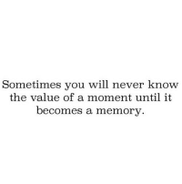 http://iglovequotes.net/: Sometimes you will never know  the value of a moment until it  becomes a memory. http://iglovequotes.net/
