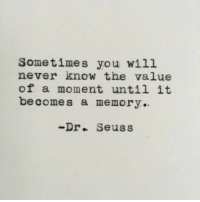 Dr. Seuss, Never, and Memory: Sometimes you will  never know the value  of a moment until it  becomes a memory.  -Dr. Seuss