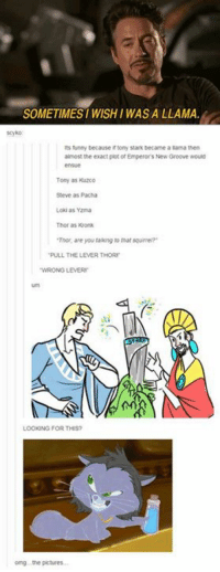 """I need   -Maya: SOMETIMESI WISH I WAS A LLAMA  funny because irtony Stark became a lama then  almost the exact piot ofEmperors New Groove would  Tony as Kuzco  Steve as Pacha  Loki as Yzma  Thor as Kronk  Tinor, are you taking to that squirrel""""  PULL THE LEVERTHORn  LOOK NG FOR THIS?  omg the pictures. I need   -Maya"""