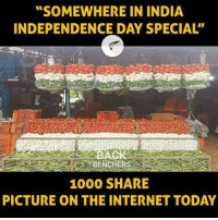 "Independence Day, Internet, and Memes: ""SOMEWHERE IN INDIA  INDEPENDENCE DAY SPECIAL""  BENC  1000 SHARE  PICTURE ON THE INTERNET TODAY"