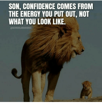 """Memes, Instinctive, and 🤖: SON, CONFIDENCE COMES FROM  THE ENERGY YOU PUT OUT, NOT  WHAT YOU LOOK LIKE  @SCHOOLASUCCESS Confidence comes from small acts of courage repeat day in day out. If you receive a sign from the universe to act on an instinct aligned with your vision and you don't act, you lose. Why? Because if you don't learn how to disembroil your feelings from your actions, you won't """"feel"""" like it. 95% of our decisions are made by how we feel. Let me ask you a question; how do you feel most of the time? If its NOT empowered, your mindset is average and you will remain average. Its about how you show up. If you show up weak, you will remain weak. If you show up average, you will remain average... but if you show up as the BEST version of yourself every single time... welcome to the 1% club. Via my friend @youngxdreamers markiron"""