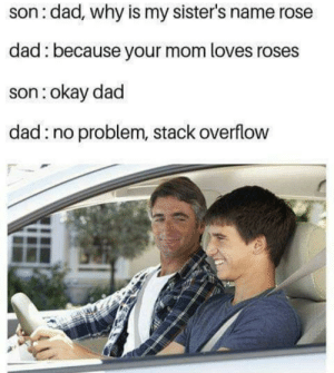 Dad, Okay, and Rose: son: dad, why is my sister's name rose  dad: because your mom loves roses  son:okay dad  dad:no problem, stack overflow My sons name gonna be segmentation fault.