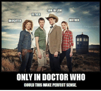 who: SON-IN-LAW  FATHER  MOTHER  DAUGHTER  Facebook.com/gypsy who  ONLY IN DOCTOR WHO  COULD THIS MAKE PERFECT SENSE.