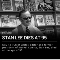 "Chief writer, editor and former president of Marvel Comics, Stan Lee, has died at the age of 95. Lee is responsible for legendary characters like Black Panther, Spider-Man, the X-Men, the Mighty Thor, Iron Man, the Fantastic Four, the Incredible Hulk, Daredevil and Ant-Man, among many others. ___ Lee said in an interview: - ""The person viewing the cartoon or reading the book should have something to think about, not just look at mindless pages of running around."" ___ Stan Lee was born in New York City in 1922 as Stanley Liever, but took the pseudonym Stan Lee when he entered his career in comics. ___ Photo: William E. Sauro-The New York Times: SON OP  CRAZY  ORIGINS  Or MARVLCODC  ETEO  SPIDERS  MANHILO LI  STRANGELC  U.S. NEWS  STAN LEE DIES AT 95  Nov 12 