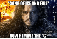 "Hbo, Martin, and Memes: SONG OF ICE AND FIRE  06.20  NOW REMOVE THE ""G""  BOR  MAGNIY MARTIN A HAASE. GameofThrones HBO"