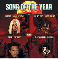 "Friends, Memes, and 2017: SONG OF THE YEAR  (2017)  CARDI B BODAK YELLOW  LIL UZI VERT XO TOUR LLIF3  y CHE  TAY K-THE RACE  PLAYBOI CARTI-MAGNOLIA It's gotta be ""The Race"" how long that thing been on the boards ? ➡️ TAG 5 FRIENDS ➡️ TURN ON POST NOTIFICATIONS"