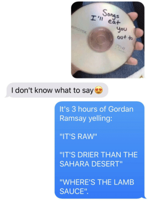 """Songs, Sauce, and Lamb: Songs  I'l eat  you  out to  emorex  CD-R  I don't know what to say  It's 3 hours of Gordan  Ramsay yelling:  """"IT'S RAW""""  """"IT'S DRIER THAN THE  SAHARA DESERT""""  """"WHERE'S THE LAMB  SAUCE"""""""