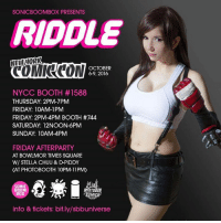 Boxing, Cats, and Facebook: SONIC BOOMBOX PRESENTS  RIDDLE  NEW WORK  OCTOBER  69, 2016  NYCC BOOTH #1588  THURSDAY: 2PM-7PM  FRIDAY: 10AM-1PM  FRIDAY: 2PM-4PM BOOTH #744  SATURDAY: 12NOON-6PM  SUNDAY: 10AM-4PM  FRIDAY AFTERPARTY  AT BOWLMOR TIMES SQUARE  W/ STELLA CHUU & D-PIDDY  CAT PHOTOBOOTH 10PM-11PM)  ONI  BOOM  BOX  info & tickets: bit.ly/sbbuniverse EXTENDED SIGNING TIMES These are my Sonic Boombox hours (table is in a different location this year)! I will be at the Simplicity booth this Friday from 2-4 selling my new pattern for only $5 which also gets you a free exclusive print of my in my AC costume.    I'll be helping out at the door for the SONICBOOMBOX party on FRIDAY for the first couple hours so stop by and say hi! Don't need a NYCC ticket to attend.   <3 check my Twitter and Facebook for updates during the weekend