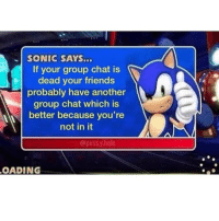 Friends, Group Chat, and Memes: SONIC SAYS...  If your group chat is  dead your friends  probably have another  group chat which is  better because you're  not in it  @puss.y.hole  OADING 🤔🤔🤔🤔🤔🤔
