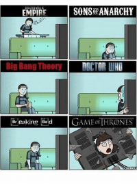 breaking bad meme: SONS ANARCHY  EMPIRE  DOCTOR WHO  Big Bang Theory  Breaking Bad  GAME of THRONES  DORKLU