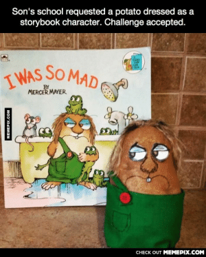 He nailed it.omg-humor.tumblr.com: Son's school requested a potato dressed as a  storybook character. Challenge accepted.  I WAS SO MAD E  BY  MERCER MAYER  CHECK OUT MEMEPIX.COM  MEMEPIX.COM He nailed it.omg-humor.tumblr.com