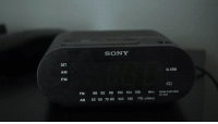 """Anaconda, Sony, and Tumblr: SONY  DST  AM  PM  ALARM  cO  FM 88 92 96 100 104 108M  AM 53 60 70 80 100 130 170 1  MHz FMM <p><a href=""""https://awesomage.tumblr.com/post/175894477845/me-in-the-morning"""" class=""""tumblr_blog"""">awesomage</a>:</p><blockquote><p><b><a href=""""https://www.youtube.com/watch?v=0oo6sFwsavc"""">Me in the Morning</a></b></p></blockquote>"""