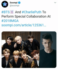 Charlie, Gym, and Music: Soompi  @soompi  #BTS And #CharliePuth To  Perform Special Collaboration At  #201 8MGA  soompi.com/article/125361 I'm happy for BTS I will support my guys BTS x Charlie Puth will have a legendary collaboration at 2018 MGA. (2018 MBC x Genie Music Awards) The collaboration will be on November 6th at Incheon Gym Namdong