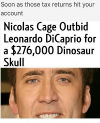 Dinosaur, Leonardo DiCaprio, and Nicolas Cage: Soon as those tax returns hit your  account  Nicolas Cage Outbid  Leonardo DiCaprio f  a $276,000 Dinosaur  Skull  or 💯