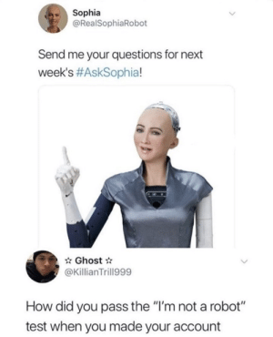 "now wait a sec: Sophia  @RealSophiaRobot  Send me your questions for next  week's #AskSophia!  Ghost  @KillianTrill999  How did you pass the ""I'm not a robot""  test when you made your account now wait a sec"