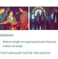 Memes, Charming, and 🤖: sophiaou  Misha's height on supernatural and charmed  makes me laugh  THAT'S BECAUSE THEY'RE TWO GIANTS!! 😂😂😂