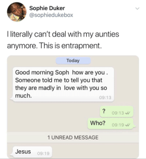 Who said that?: Sophie Duker  @sophiedukebox  I literally can't deal with my aunties  anymore. This is entrapment.  Today  Good morning Soph how are you .  Someone told me to tell you that  they are madly in love with you so  much.  09:13  09:13  Who?  09:19  1 UNREAD MESSAGE  Jesus  09:19 Who said that?