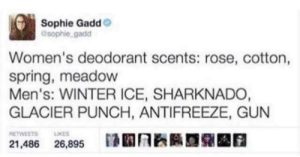Those are very choice words for deodorant: Sophie Gadd  @sophie gadd  Women's deodorant scents: rose, cotton,  spring, meadow  Men's: WINTER ICE, SHARKNADO  GLACIER PUNCH, ANTIFREEZE, GUN  RETWEETS LIKES  21,486 26,895 Those are very choice words for deodorant