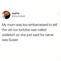 Fucking, Funny, and Meme: sophie  @Scphietab  My mum was too embarrassed to tell  the vet our tortoise was called  voldetort so she just said his name  was Susan @memes is fucking hilarious and a must follow!