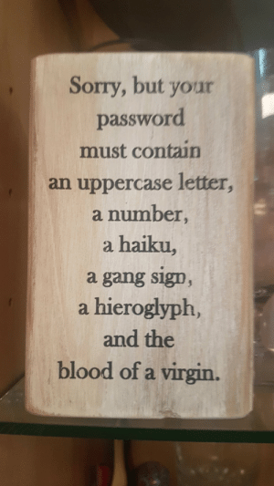 Sorry, Virgin, and Gang: Sorry, but your  password  must contain  an uppercase letter,  a number,  a haiku,  a gang sig0  a hieroglyph,  and the  blood of a virgin. This is why i have to keep resetting my password.